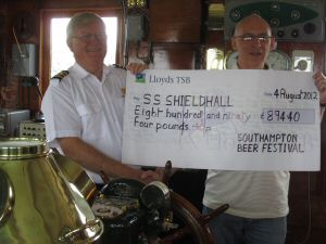 SS Shieldhall receives a cheque from Southampton Beer Festival
